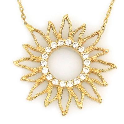 kuyumcunuznet - Altın Taşlı Güneş Kolye (14 Ayar)