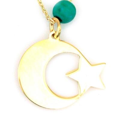 kuyumcunuznet - Altın Taşsız Firuzeli Ay Yıldız Türk Bayrağı Kolye (14 Ayar)