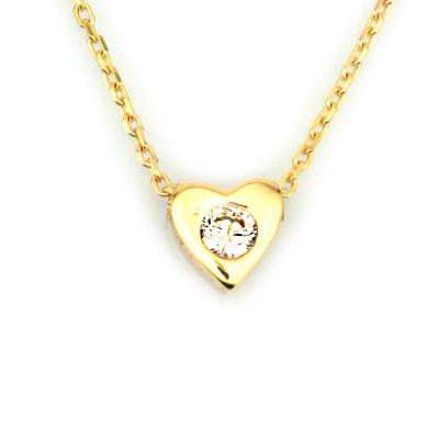kuyumcunuznet - Altın Tek Taşlı Kalp Sevgili Kolyesi (8 Ayar)