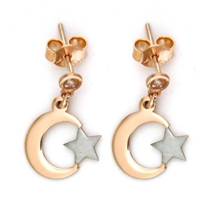 kuyumcunuznet - Altın Türk Bayrağı Ay Yıldız Küpe (14 Ayar)