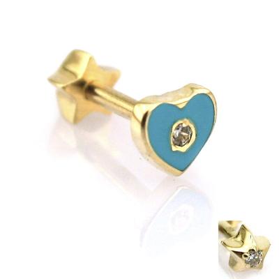 Altın Turkuaz Mineli Kalp Tragus Helix Küpe Piercing (14 Ayar)