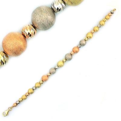 kuyumcunuznet - Altın Üç Renkli İtalyan Top Bileklik Künye (14 Ayar)