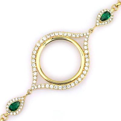kuyumcunuznet - Altın Yeşil Taşlı Çeyrek Altın Çerçeveli Bileklik (14 Ayar)