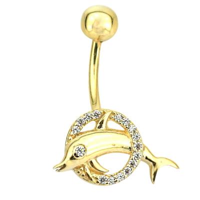 kuyumcunuznet - Altın Yunuslu Göbek Piercing (14 Ayar)