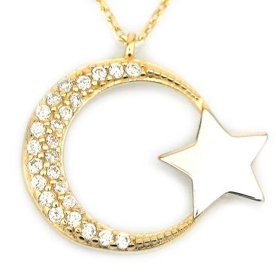 Altın Zarif Ay Yıldız Türk Bayrağı Kolye (14 Ayar)