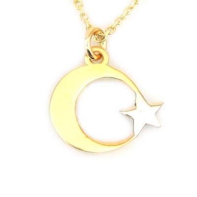 Altın Zarif Türk Bayrağı Ay Yıldız Kolye (14 Ayar)