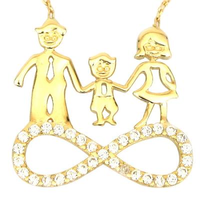 kuyumcunuznet - Anne Baba Çocuk Altın Aile Kolyesi (14 Ayar)