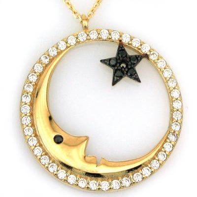 Ay Yıldız Taşlı Kolye (14 Ayar)