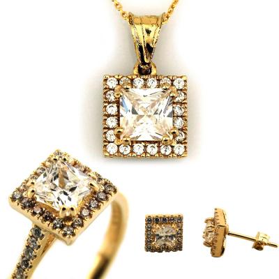 kuyumcunuznet - Baget Taşlı Hafif Altın Takı Seti (14 Ayar)