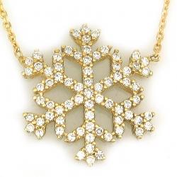 Büyük Kar Tanesi Altın Kolye (14 Ayar) - Thumbnail