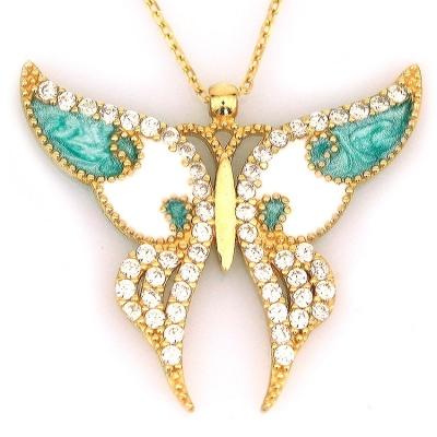 kuyumcunuznet - Büyük Mavi Mineli Altın Kelebek Kolye (14 Ayar)