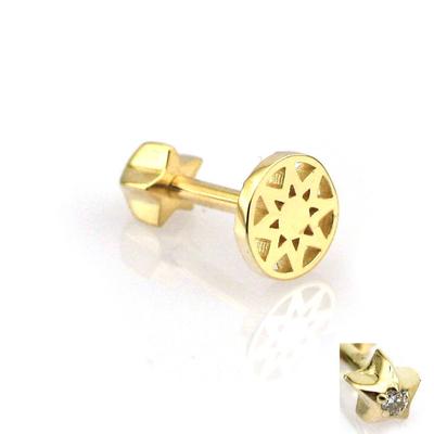 Çerçeveli Yıldız Altın Tragus Helix Piercing (14 Ayar)