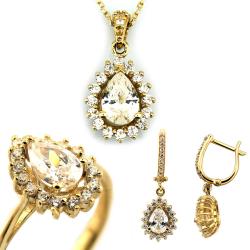 Damla Modeli Gösterişli Altın Takı Seti (14 Ayar) - Thumbnail