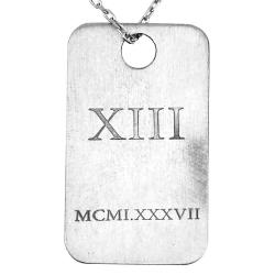 Eskitme Tasarım Gümüş Asker Künyesi - Thumbnail
