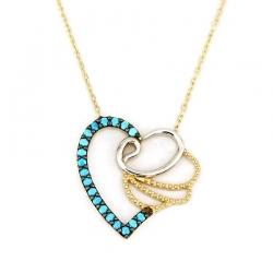 Firuze Taşlı Kalp Vavlı Altın Kolye (14 Ayar) - Thumbnail