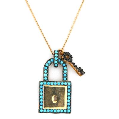 kuyumcunuznet - Firuze Taşlı Kilit Anahtar Altın Kolye (14 Ayar)