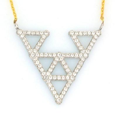 kuyumcunuznet - Geometrik Gösterişli Üçgen Altın Kolye (14 Ayar)