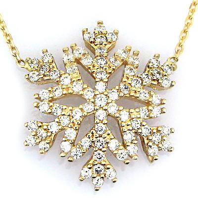 kuyumcunuznet - Gösterişli Kar Tanesi Altın Kolye (14 Ayar)