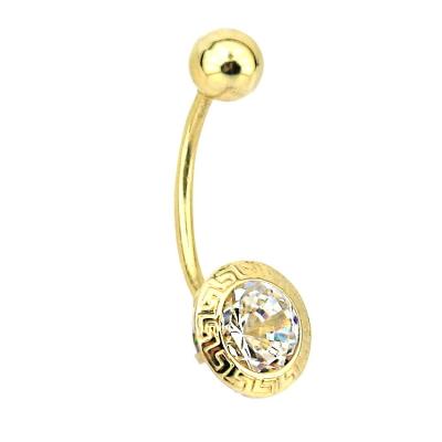 kuyumcunuznet - Grek Desenli Altın Göbek Piercing (14 Ayar)