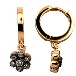 Gül Modeli Elmas Görünümlü Altın Set Takım (14 Ayar) - Thumbnail