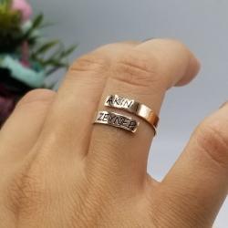 İsimli İkili Gümüş Yüzük - Thumbnail