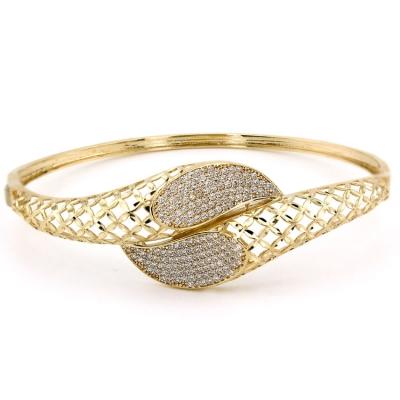 kuyumcunuznet - Hasır İşlemeli Taşlı Altın Kelepçe Bilezik (14 Ayar)