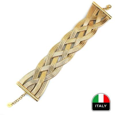 kuyumcunuznet - Hasır Kalın İtalyan Altın Bileklik Künye (14 Ayar)