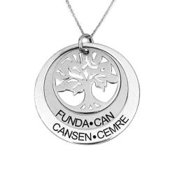 Hayat Ağacı Gümüş İsimli Kolye - Thumbnail