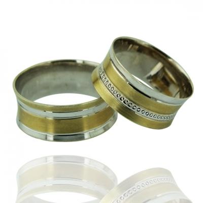 kuyumcunuznet - İki Renk Taşsız Modern Altın Alyans (14 Ayar)