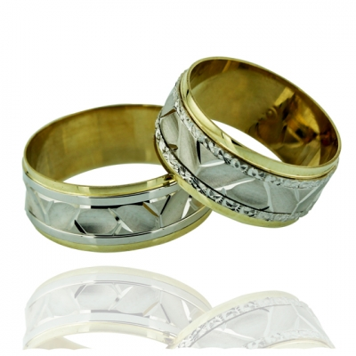 kuyumcunuznet - İki Renkli Klasik Altın Alyans (14 Ayar)