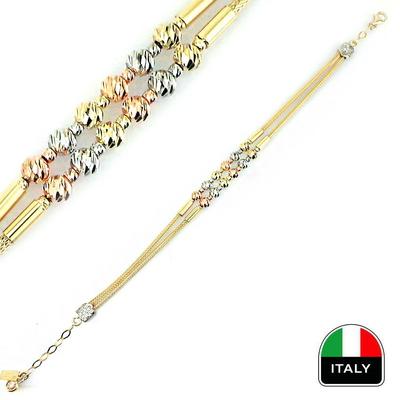 kuyumcunuznet - İki Sıralı İtalyan Altın Bileklik Künye (14 Ayar)