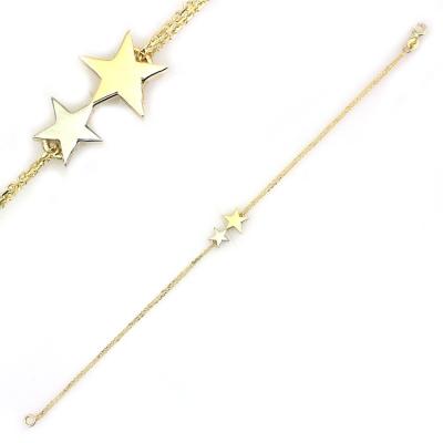 kuyumcunuznet - İki Zincirli Altın Yıldız Bileklik Künye (14 Ayar)