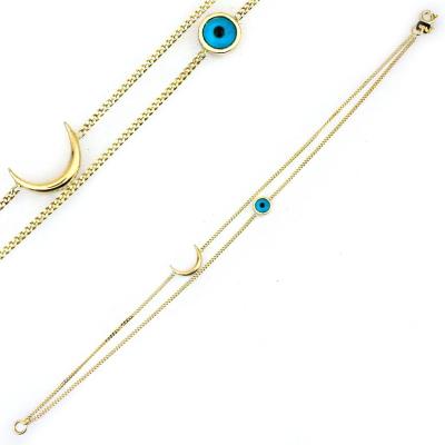 kuyumcunuznet - İkili Altın Gözlü Hilal Model Bileklik Künye (14 Ayar)