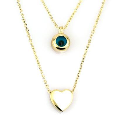 kuyumcunuznet - İkili Gözlü Kalpli Altın Modern Kolye (14 Ayar)