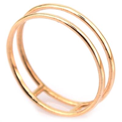 kuyumcunuznet - İkili Özel Tasarım Düz Eklem Yüzüğü (14 Ayar)
