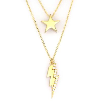 kuyumcunuznet - İkili Yıldız Şimşek Altın Kolye (14 Ayar)