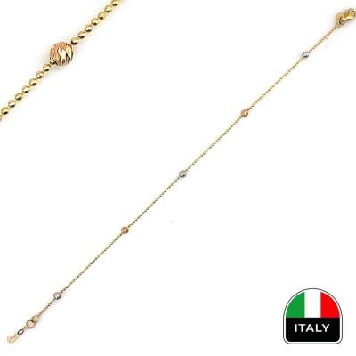 kuyumcunuznet - İnce İtalyan Toplu Taşsız Künye Bileklik (14 Ayar)