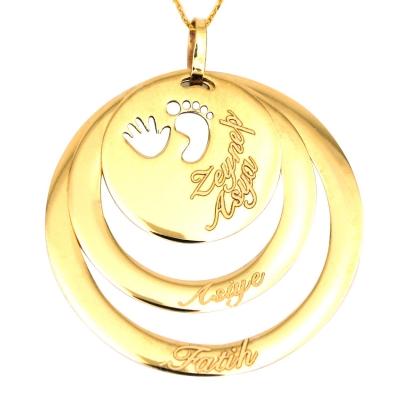 kuyumcunuznet - İsimli Halka Doğum Altın Kolye (14 Ayar)