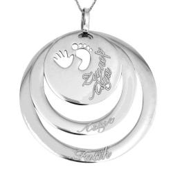 İsimli Halka Doğum Gümüş Kolye - Thumbnail