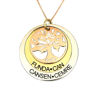 kuyumcunuznet - İsimli Soy Ağaçlı Altın Kolye (14 Ayar)
