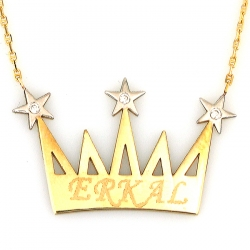 İsimli Taşlı Kral Tacı Kolye (14 Ayar) - Thumbnail