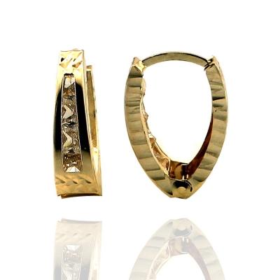 kuyumcunuznet - İşlemeli Taşlı Büyük Boy Altın Küpe (14 Ayar)