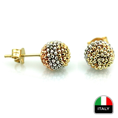 kuyumcunuznet - İtalyan Altın Top Küpe (14 Ayar)