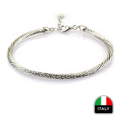 kuyumcunuznet - İtalyan Beyaz Altın Kelepçe Bileklik (14 Ayar)