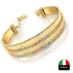 İtalyan Gösterişli El İşi Altın Bilezik Kelepçe (14 Ayar) - Thumbnail