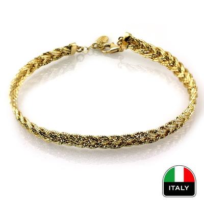 kuyumcunuznet - İtalyan Örme Kelepçe Bileklik (14 Ayar)