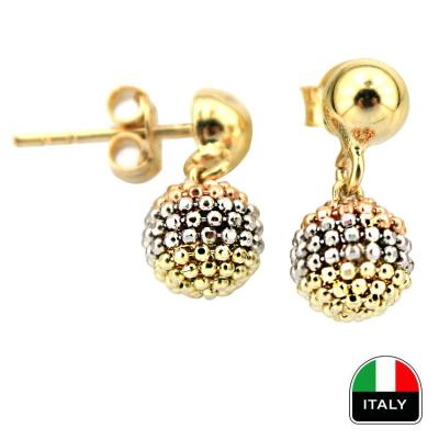 kuyumcunuznet - İtalyan Sallantılı Altın Top Küpe (14 Ayar)
