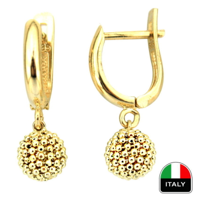 kuyumcunuznet - İtalyan Sallantılı Top Küpeler (14 Ayar)