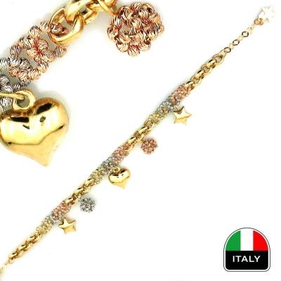 kuyumcunuznet - İtalyan Tasarım Altın Şans Bileklik Künye (14 Ayar)