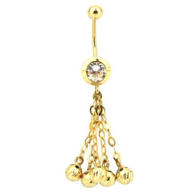 kuyumcunuznet - İtalyan Toplu Altın Göbek Piercing (14 Ayar)